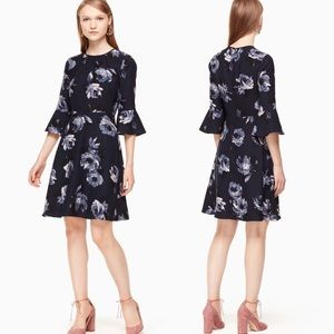 NWT | Kate Spade | Night Rose Crepe Dress